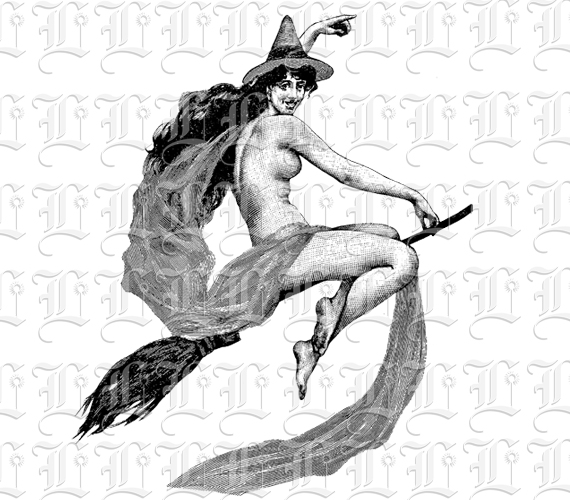 Nude Flying Witch On Broom Vintage Clip Art Illustration Luminarium