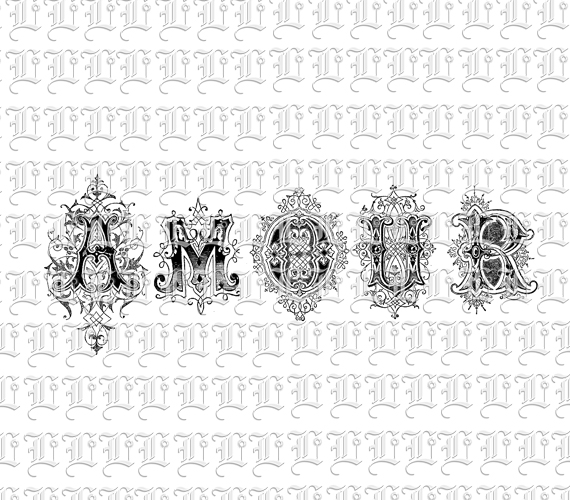 amour french word love spelling ornamental font letters typography bitmap collage printable. Black Bedroom Furniture Sets. Home Design Ideas