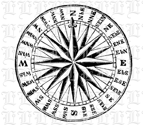 ... Rose Compass Navy Vintage Clip Art Illustration | Luminarium Graphics