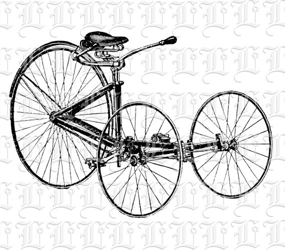 Tricycle Wheel Clip Art : Th century antique tricycle vintage clip art