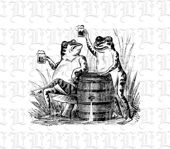 frogs drinking beer antique comic illustration vintage