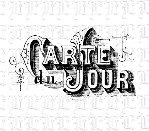 Antique Victorian Restaurant Carte Du Jour French Sign Vintage Illustration