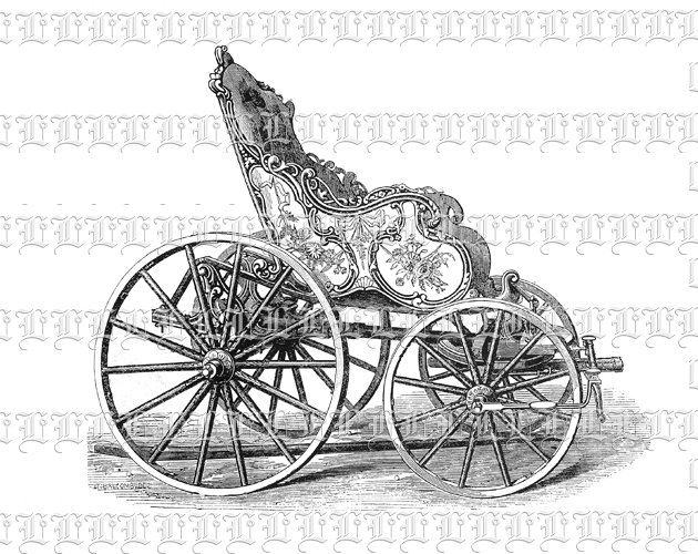 Antique Ornate Four Wheel Carriage Chariot Vehicle Vintage Clip ...