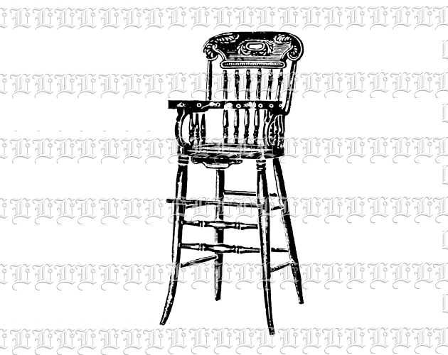 Adorned Antique Wooden High Chair Children Furniture Vintage Clip Art Illustration Print Or Digital Use