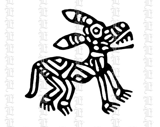 Primitive folk art india illustration dog motif antique graphic